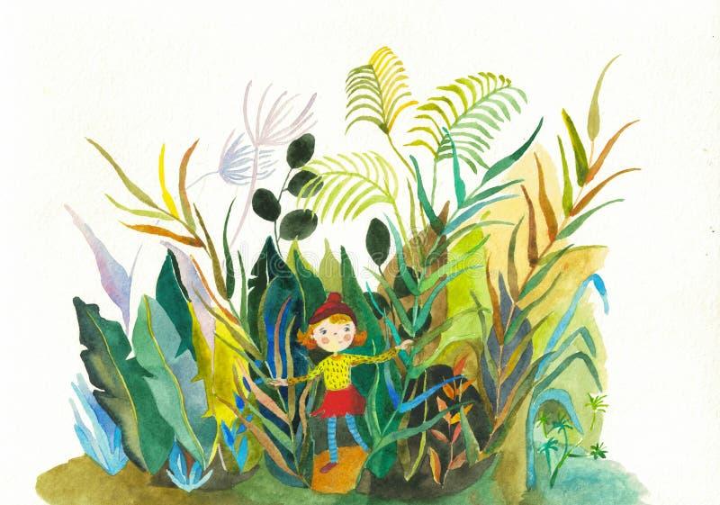 Illustrazione disegnata a mano della ragazza dell'acquerello sveglio della pianta illustrazione di stock