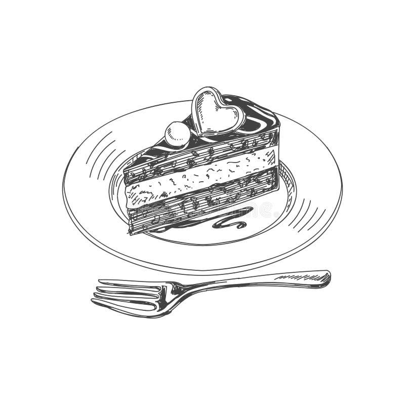 Illustrazione disegnata a mano della roba del ristorante di bello vettore illustrazione vettoriale