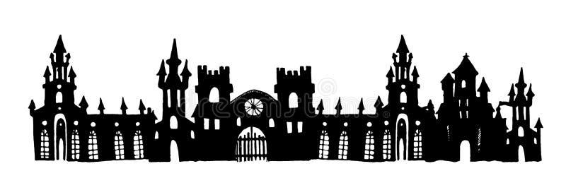 Illustrazione disegnata a mano della siluetta di vettore della torre autentica del castello illustrazione vettoriale