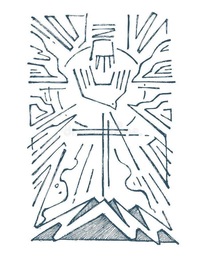 Illustrazione disegnata a mano della trinità santa royalty illustrazione gratis