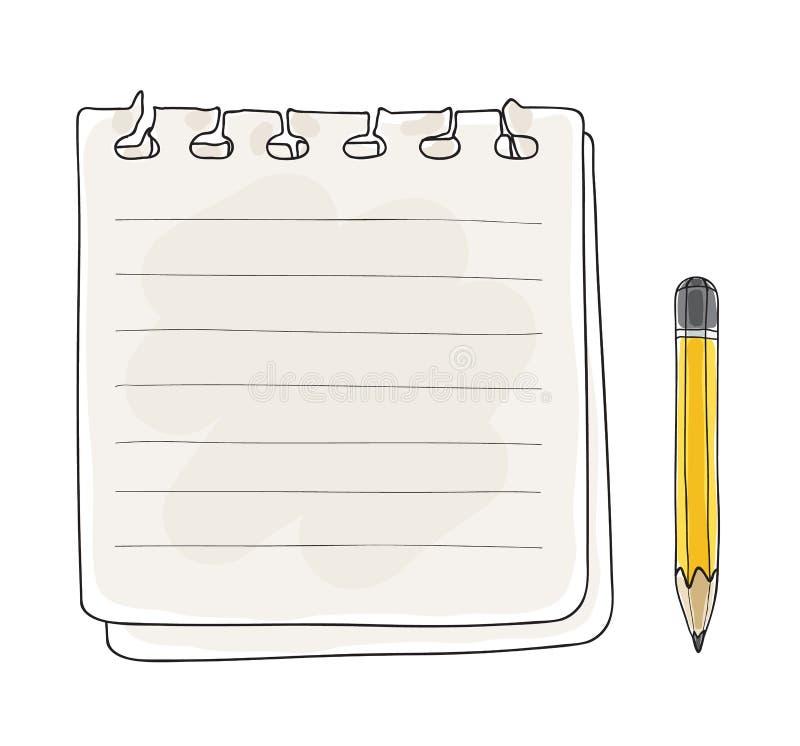Illustrazione disegnata a mano di arte di vettore della matita gialla e della carta per appunti royalty illustrazione gratis