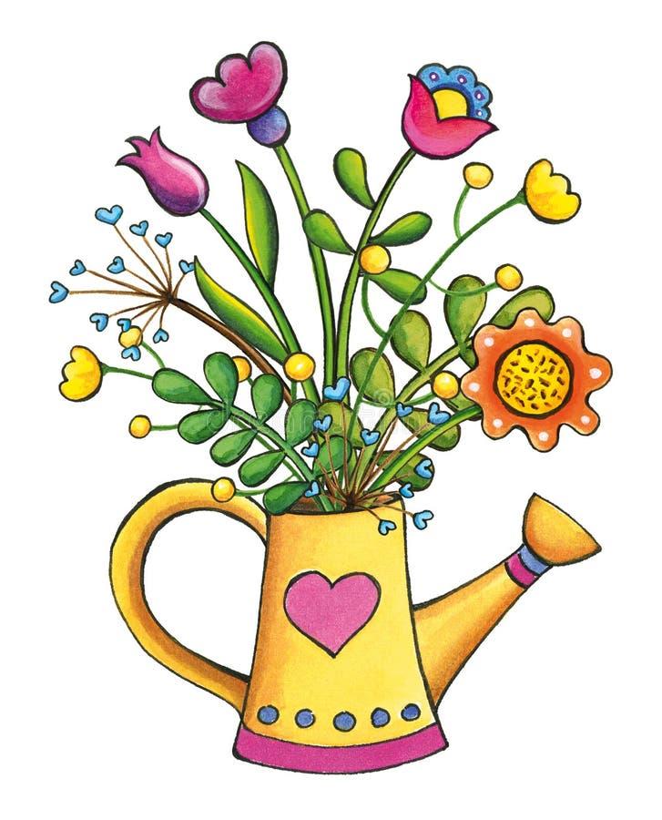 Illustrazione disegnata a mano di clipart del mazzo dei fiori fotografie stock libere da diritti