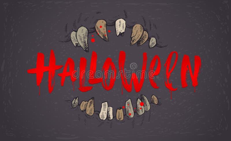 Illustrazione disegnata a mano di Halloween Mandibole di un mostro e di un saluto scritti da una spazzola illustrazione di stock