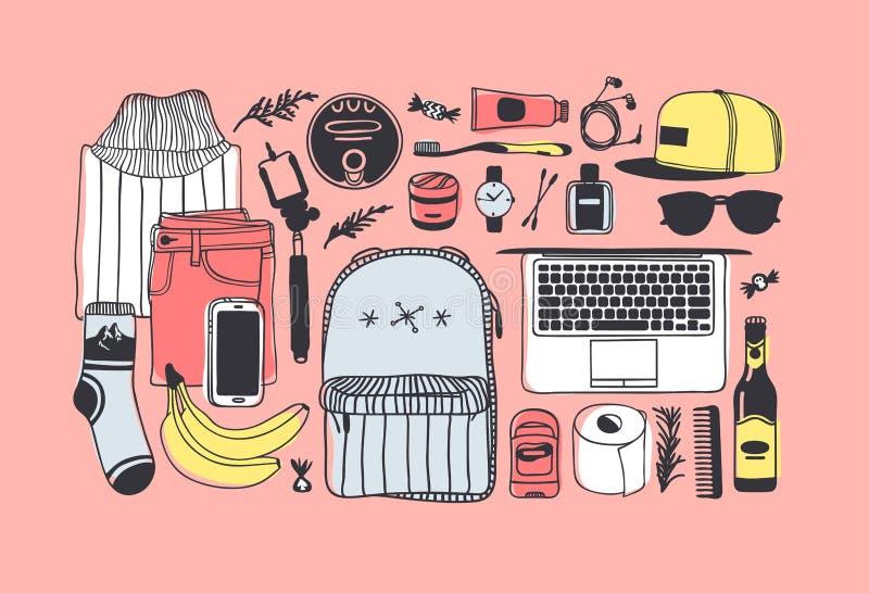 Illustrazione disegnata a mano di modo che cosa è nella mia borsa Pictur di vettore royalty illustrazione gratis
