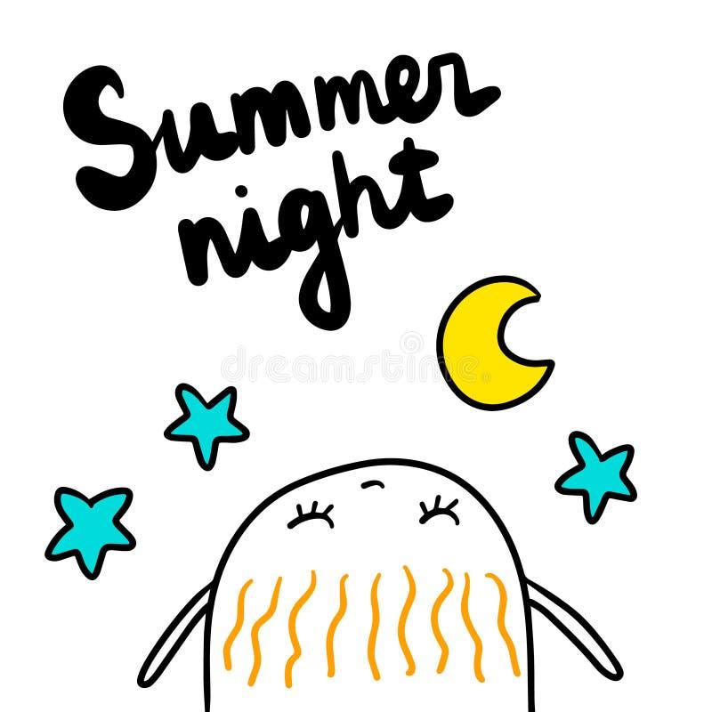 Illustrazione disegnata a mano di notte di estate con la caramella gommosa e molle sveglia che esamina le stelle e la luna illustrazione vettoriale