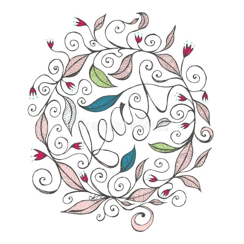 Illustrazione disegnata a mano di progettazione floreale con le linee ed i turbinii ricci 1 fotografia stock