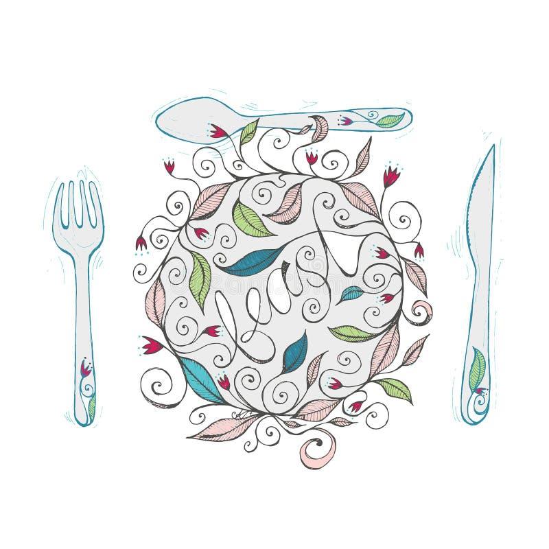 Illustrazione disegnata a mano di progettazione floreale con le linee ed i turbinii ricci 2 immagini stock libere da diritti