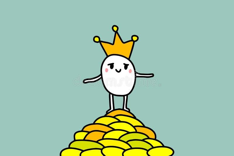 Illustrazione disegnata a mano di re ricco stesso del fumetto Stanging su una montagna di soldi dorati Vettore di minimalismo royalty illustrazione gratis