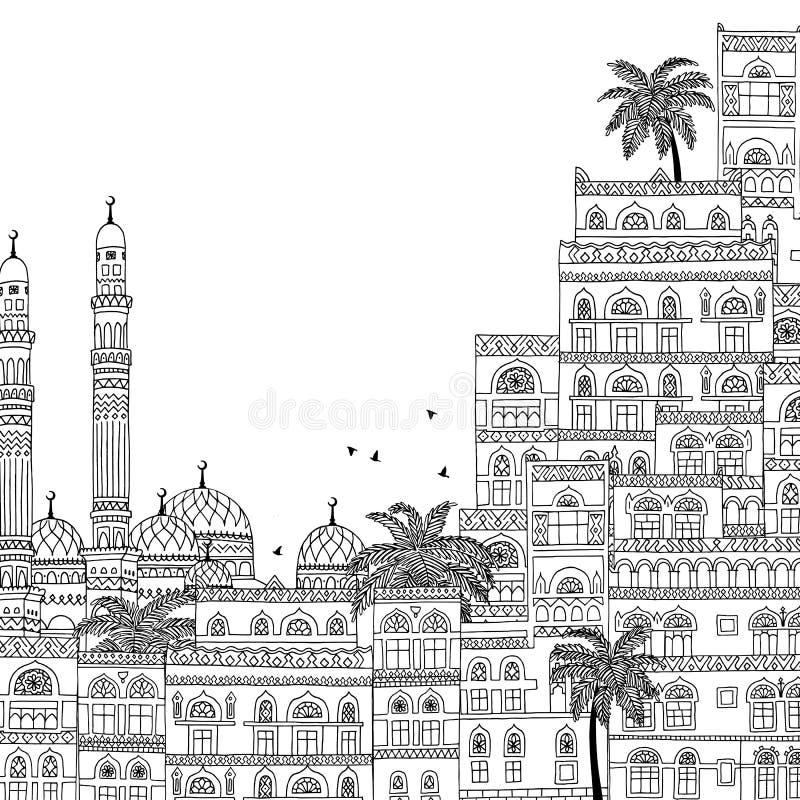 Illustrazione disegnata a mano di Sana'a nell'Yemen illustrazione di stock