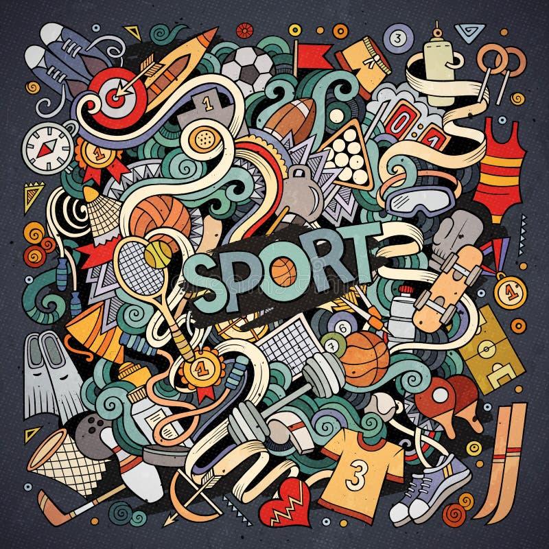 Illustrazione disegnata a mano di sport di scarabocchi svegli del fumetto illustrazione vettoriale