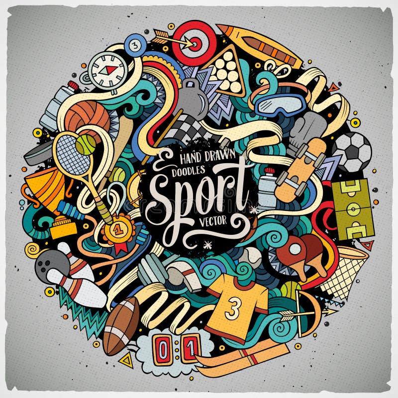 Illustrazione disegnata a mano di sport di scarabocchi svegli del fumetto illustrazione di stock