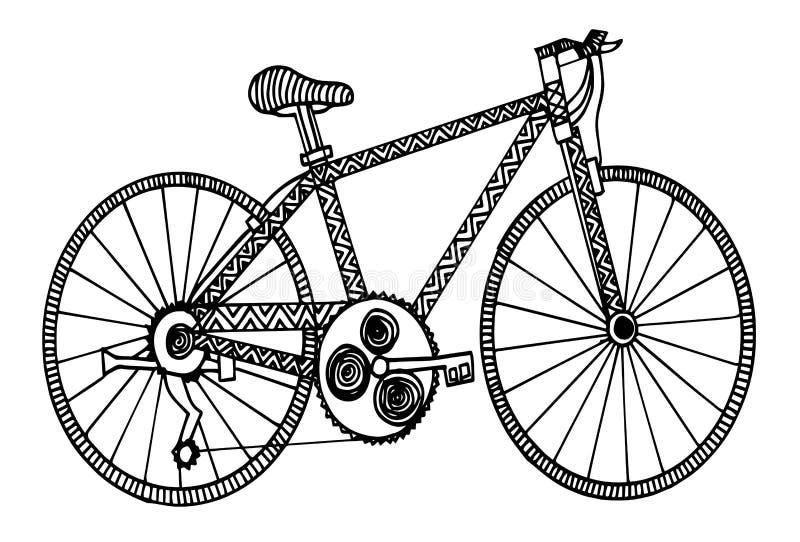Illustrazione disegnata a mano di stile di scarabocchio della bicicletta di vettore retro illustrazione di stock