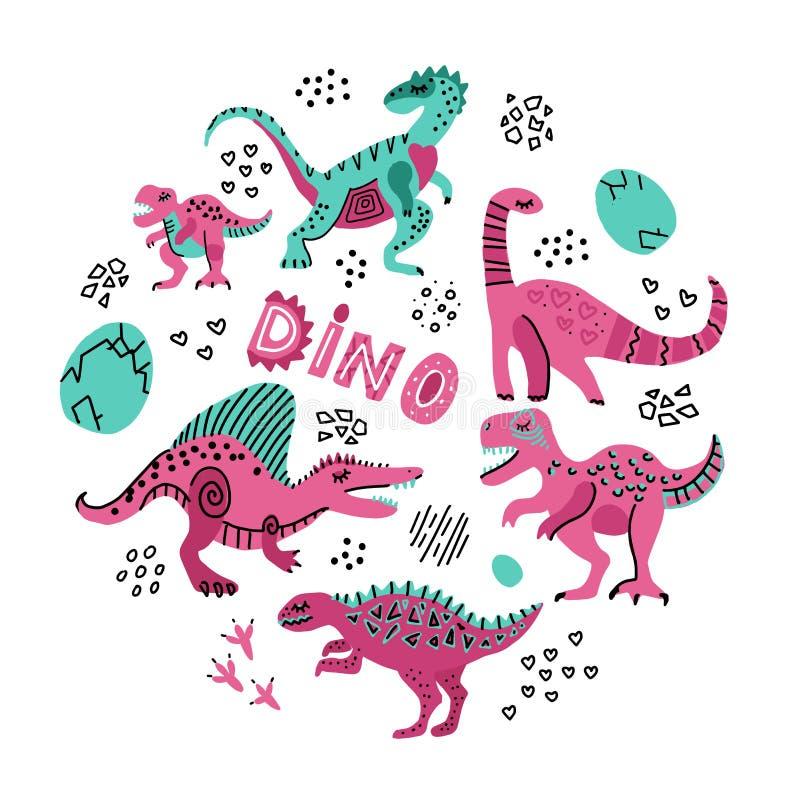 Illustrazione disegnata a mano di vettore di colore dei dinosauri svegli nella forma rotonda Struttura del cerchio del fumetto de royalty illustrazione gratis