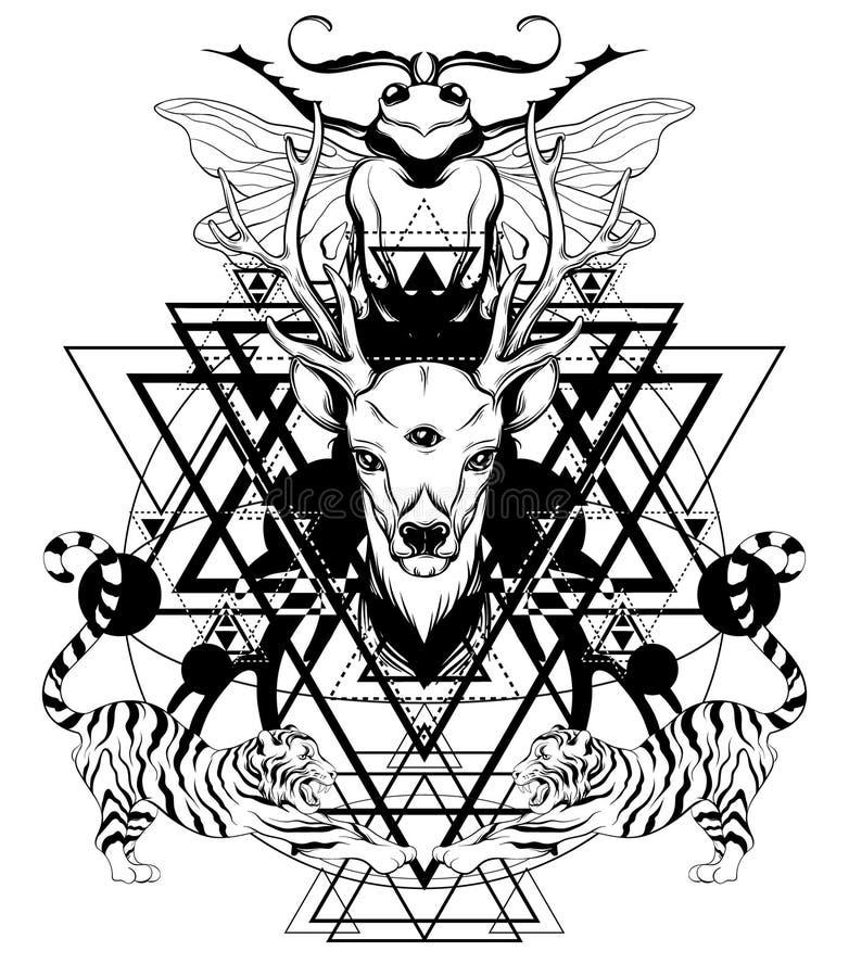 Illustrazione disegnata a mano di vettore dei cervi con le tigri e l'insetto isolati illustrazione di stock