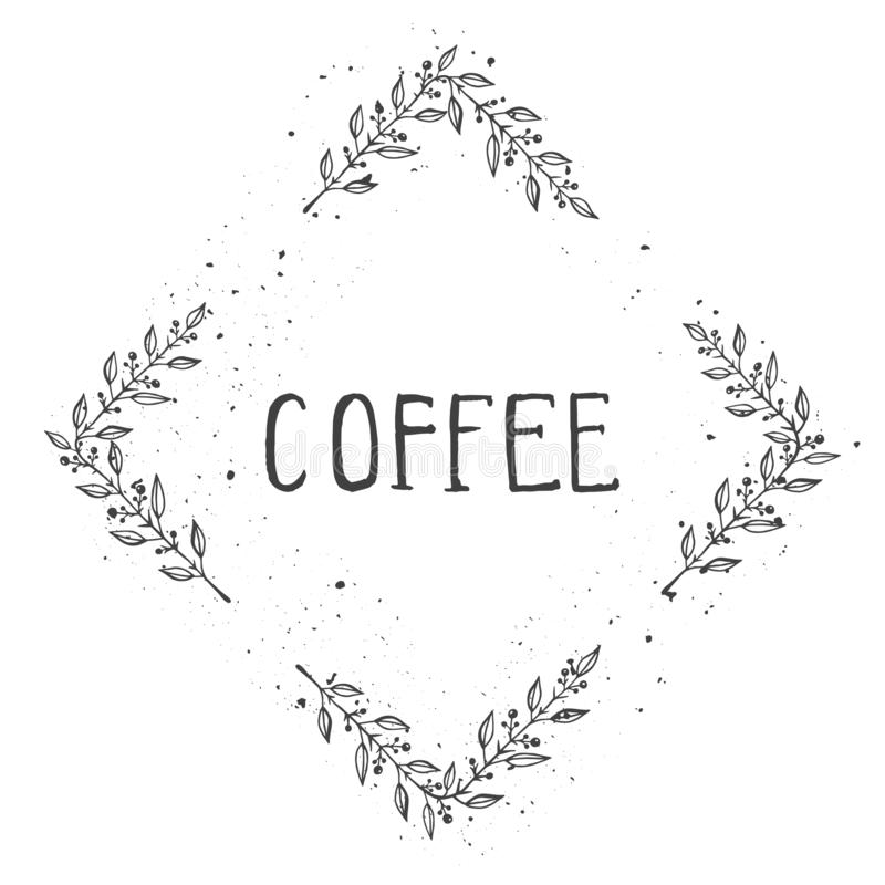 Illustrazione disegnata a mano di vettore del CAFFÈ del testo e del telaio romboide floreale con struttura dell'inchiostro di ler royalty illustrazione gratis