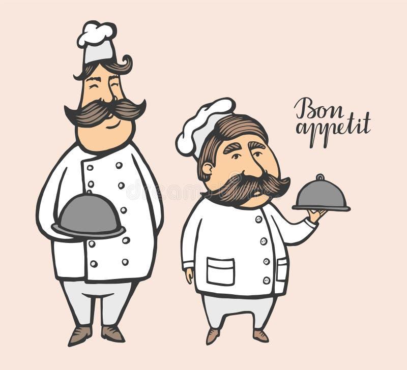 Illustrazione disegnata a mano di vettore del capo-fornello con i baffi in un vestito bianco con un piatto logo del capo-fornello royalty illustrazione gratis