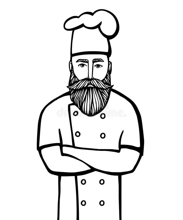 Illustrazione disegnata a mano di vettore del capo-fornello dei pantaloni a vita bassa con i baffi e della barba in un vestito bi illustrazione di stock