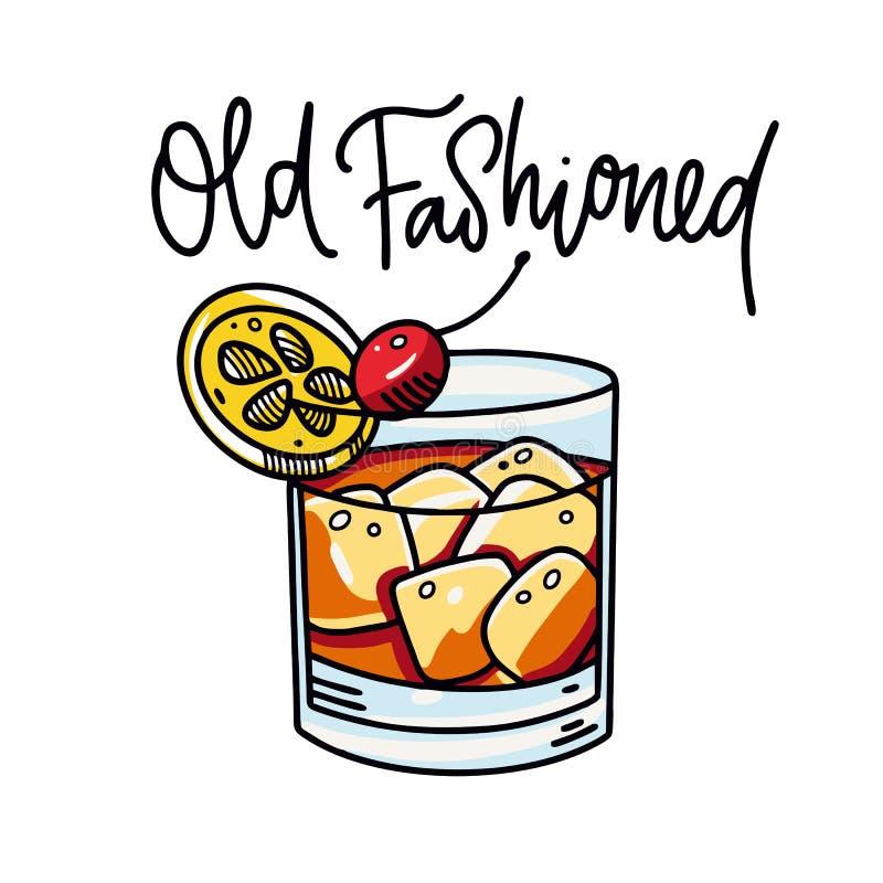 Illustrazione disegnata a mano di vettore del cocktail alcolico antiquato Stile del fumetto royalty illustrazione gratis