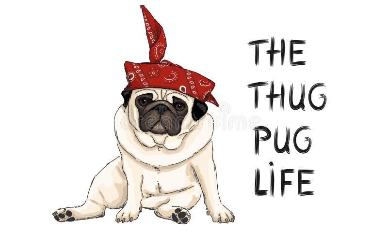Illustrazione disegnata a mano di vettore del cucciolo di cane del carlino del delinquente, sedentesi con la bandana occidentale  illustrazione di stock