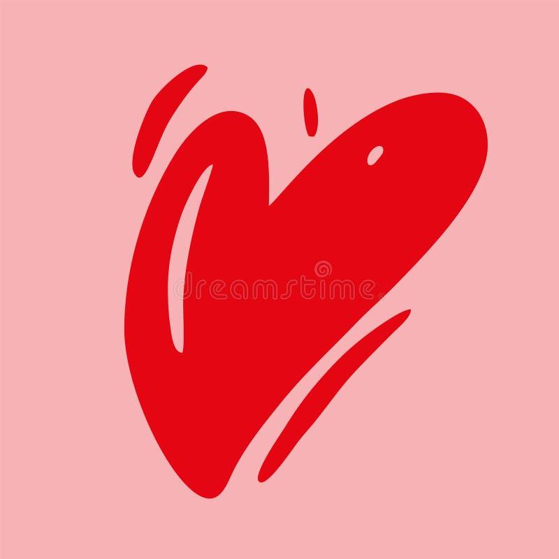 Illustrazione disegnata a mano di vettore del cuore di amore Carta felice di giorno di biglietti di S Isolato illustrazione di stock