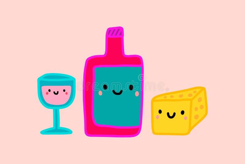 Illustrazione disegnata a mano di vettore del formaggio del bicchiere di vino della bottiglia in kawaii sorridente di stile del f royalty illustrazione gratis