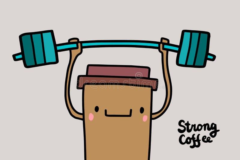 Illustrazione disegnata a mano di vettore del forte caffè con la tazza della bevanda che sorride che tiene peso massimo royalty illustrazione gratis