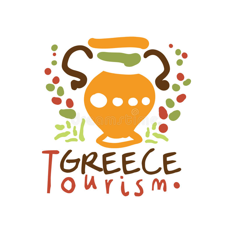 Illustrazione disegnata a mano di vettore del modello di logo di turismo della Grecia illustrazione vettoriale