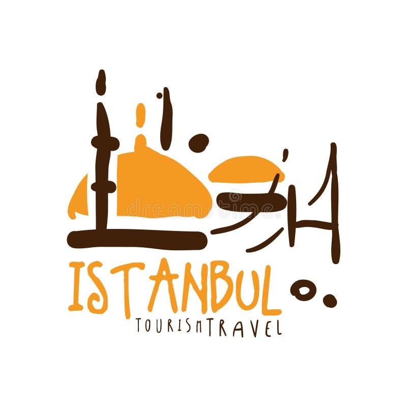 Illustrazione disegnata a mano di vettore del modello di logo di viaggio di Costantinopoli illustrazione vettoriale