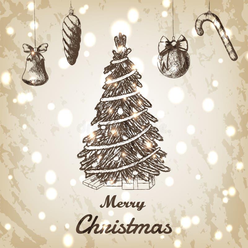 Illustrazione disegnata a mano di vettore del nuovo anno e di Natale Albero di natale con lo schizzo degli ornamenti illustrazione di stock