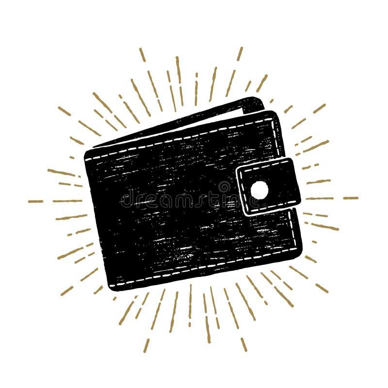 Illustrazione disegnata a mano di vettore del portafoglio illustrazione vettoriale