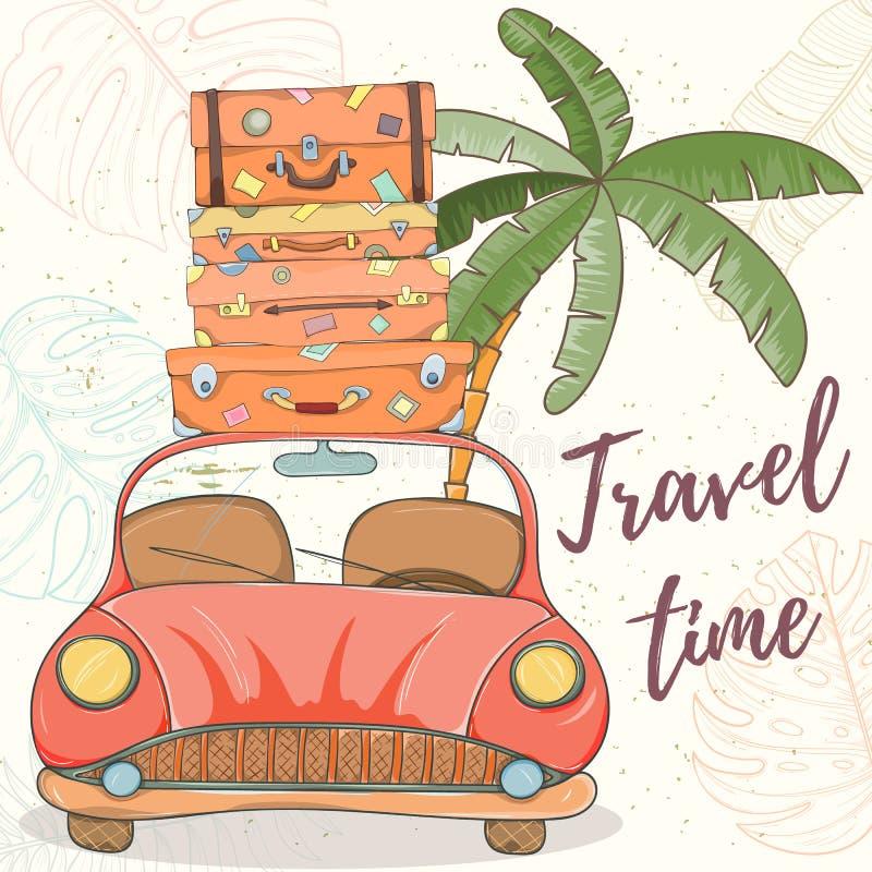 Illustrazione disegnata a mano di vettore dell'automobile con le borse royalty illustrazione gratis