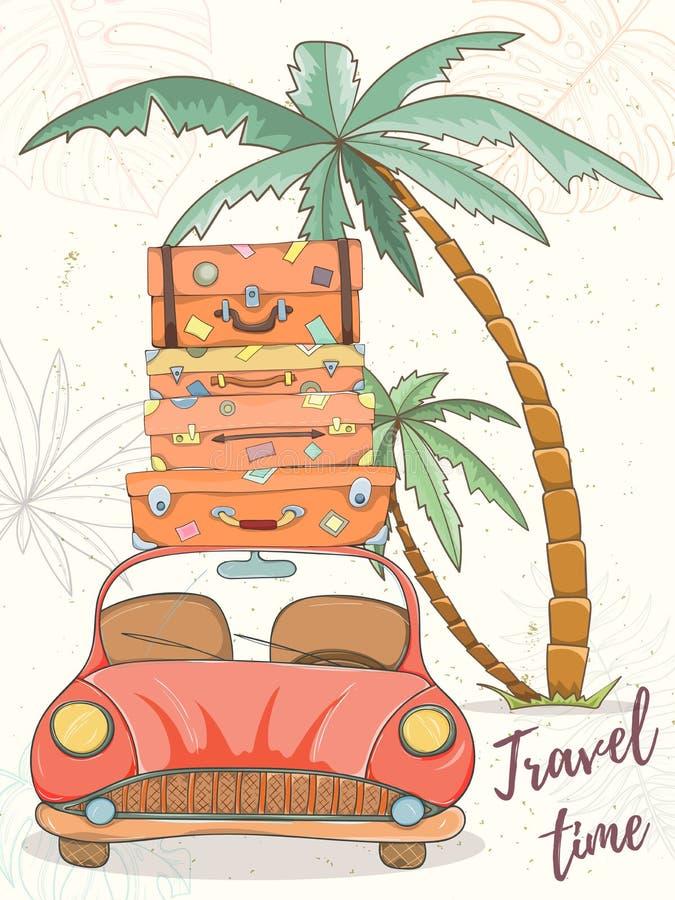Illustrazione disegnata a mano di vettore dell'automobile con le borse illustrazione vettoriale
