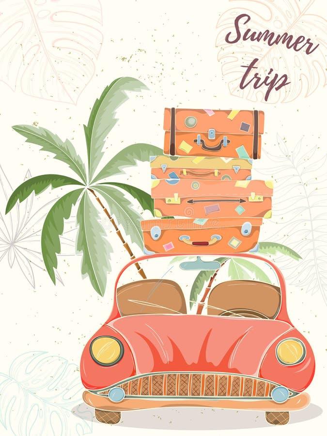 Illustrazione disegnata a mano di vettore dell'automobile con le borse illustrazione di stock