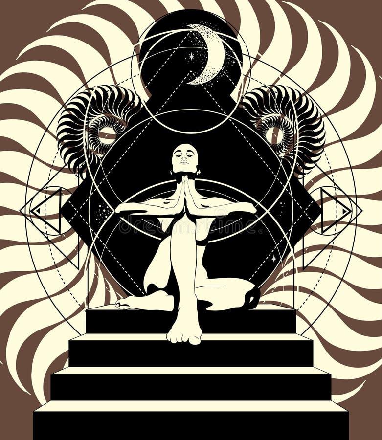 Illustrazione disegnata a mano di vettore della donna nella posa di yoga sulle scala