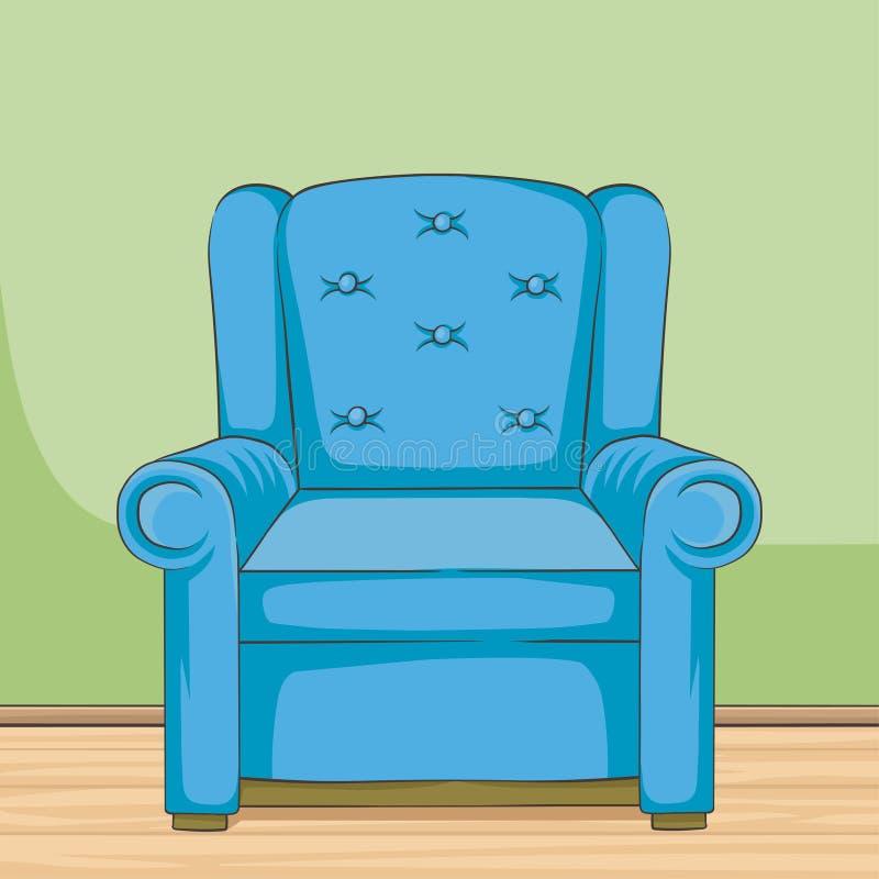 Illustrazione disegnata a mano di vettore della poltrona blu, illustrazione d'annata interna di vettore della casa di stile della royalty illustrazione gratis