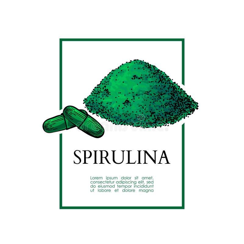 Illustrazione disegnata a mano di vettore della polvere dell'alga di Spirulina Polvere isolata e pillole che attingono fondo bian royalty illustrazione gratis