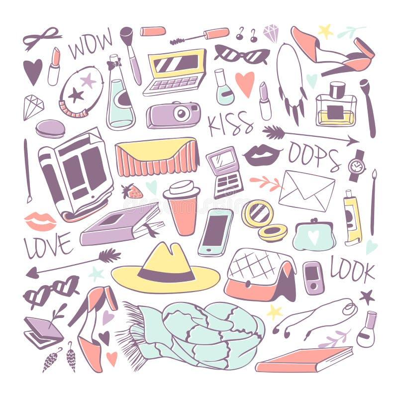 Illustrazione disegnata a mano di vettore della roba femminile sveglia illustrazione di stock