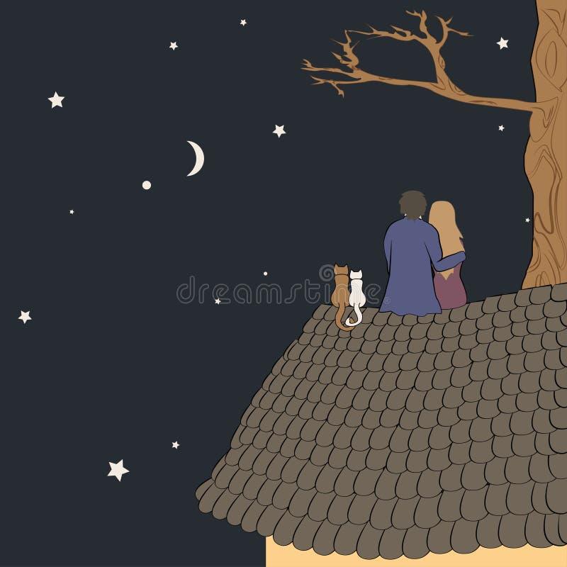 Illustrazione disegnata a mano di vettore delle coppie di amore che si siedono sul tetto, esaminante luna sotto le stelle in ciel royalty illustrazione gratis