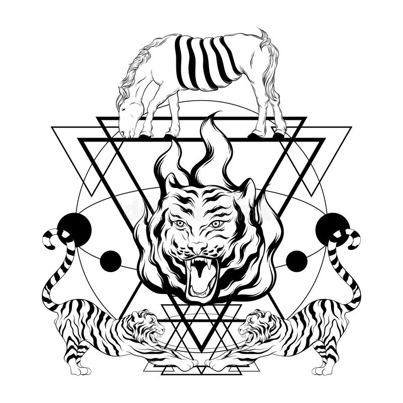Illustrazione disegnata a mano di vettore delle tigri con il cavallo surreale e dei triangoli isolati illustrazione vettoriale
