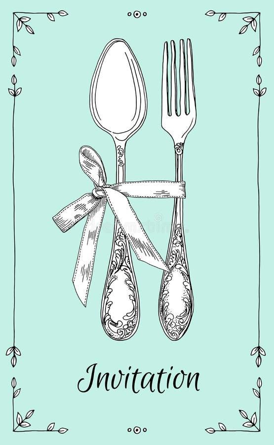 Illustrazione disegnata a mano di vettore di stoviglie d'argento ornamentali ricce, coltelleria sul fondo della menta Illustrazio royalty illustrazione gratis