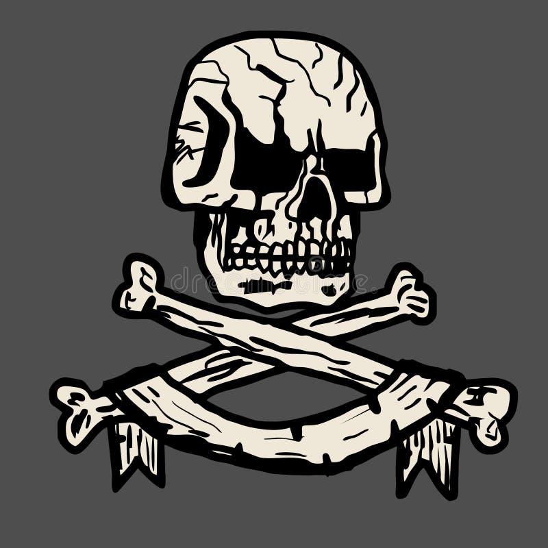 Illustrazione disegnata a mano di vettore di un cranio del pirata fotografia stock