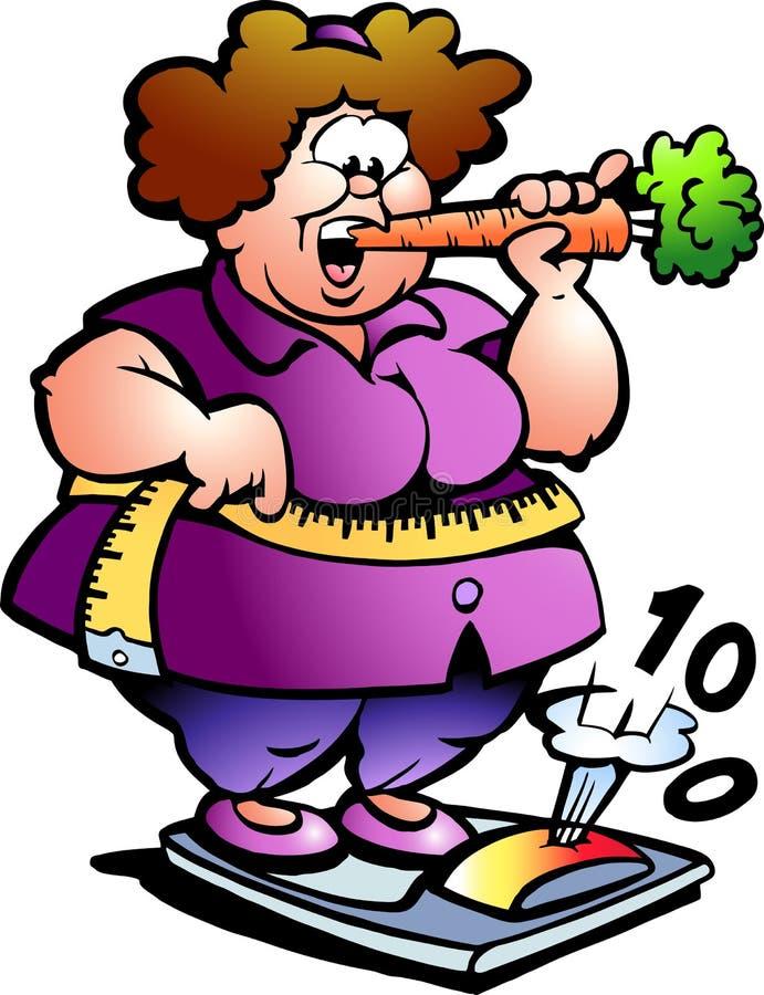 Illustrazione disegnata a mano di vettore di una signora grassa illustrazione di stock