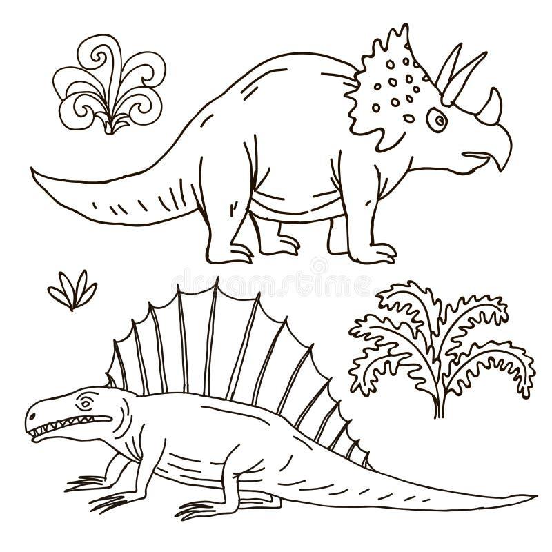 Illustrazione disegnata a mano di vettore giurassica royalty illustrazione gratis