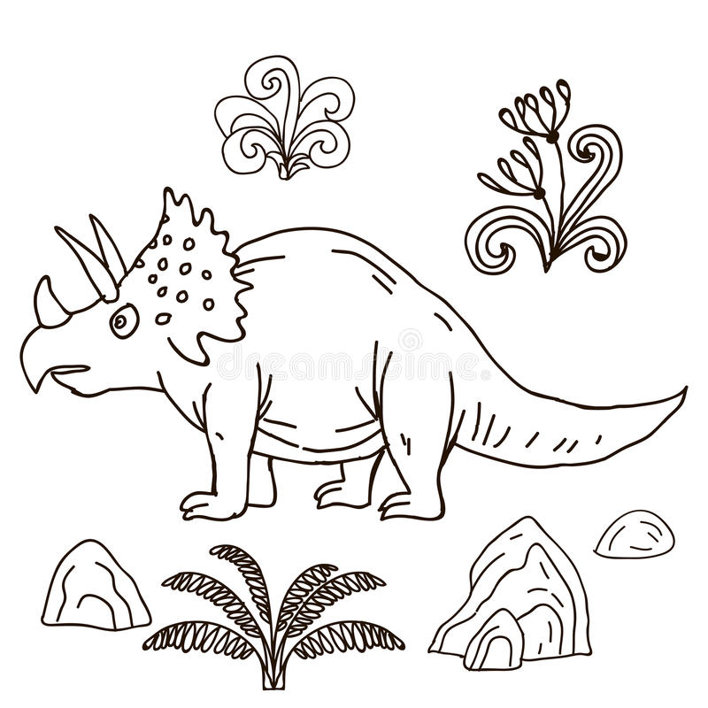 Illustrazione disegnata a mano di vettore giurassica illustrazione vettoriale