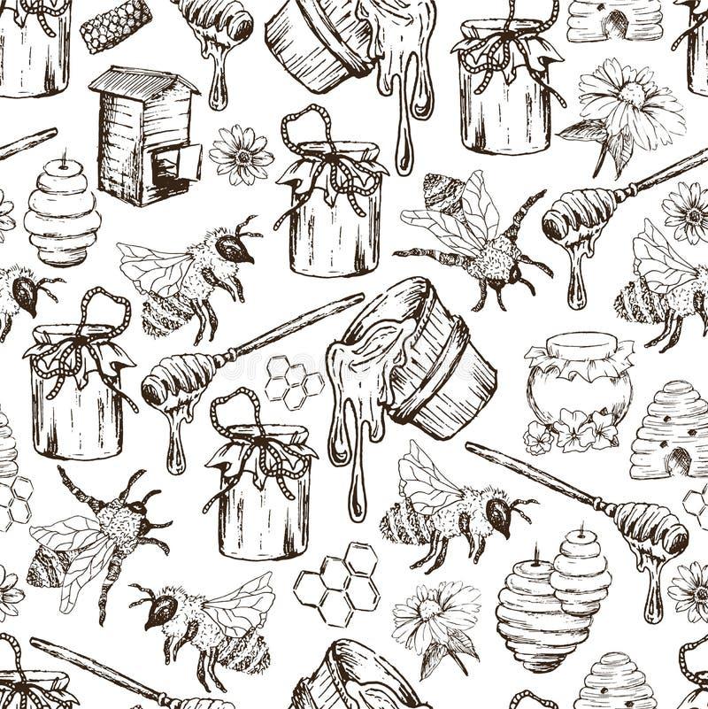 Illustrazione disegnata a mano di vettore di Honey Bee Seamless Pattern Sketch royalty illustrazione gratis