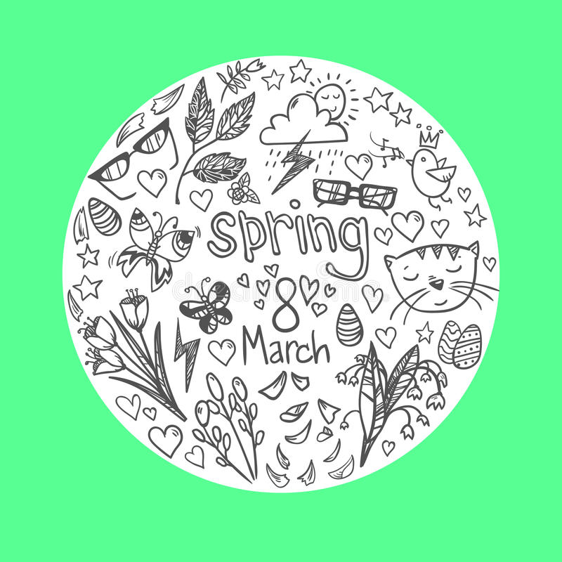 Illustrazione disegnata a mano di vettore - icone della molla Insieme di Doodle royalty illustrazione gratis