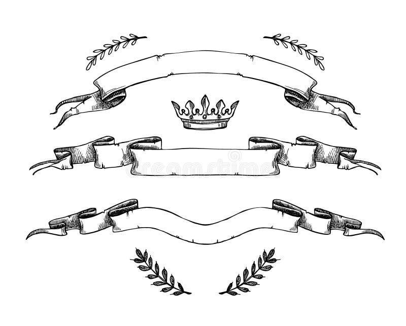 Illustrazione disegnata a mano di vettore - insieme delle bandiere e dei nastri illustrazione vettoriale