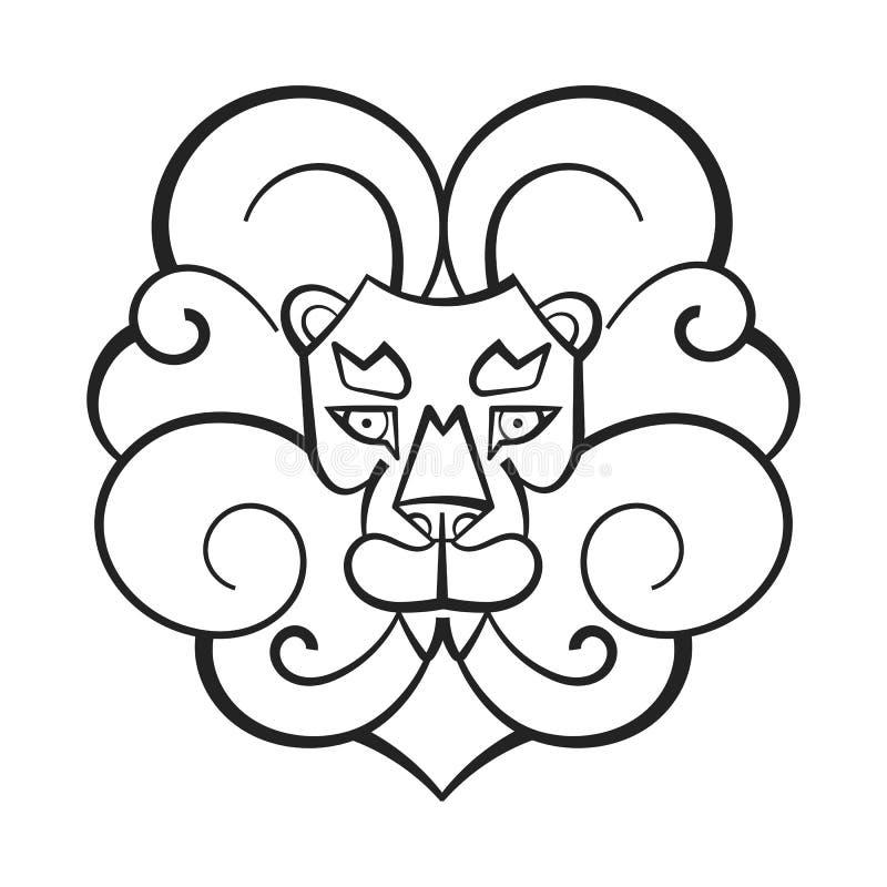 Illustrazione disegnata a mano di vettore di Lion Coloring Page For Kids royalty illustrazione gratis