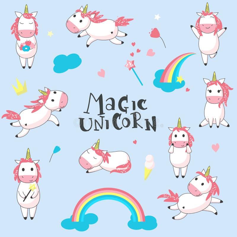 Illustrazione disegnata a mano di vettore magico degli unicorni illustrazione vettoriale