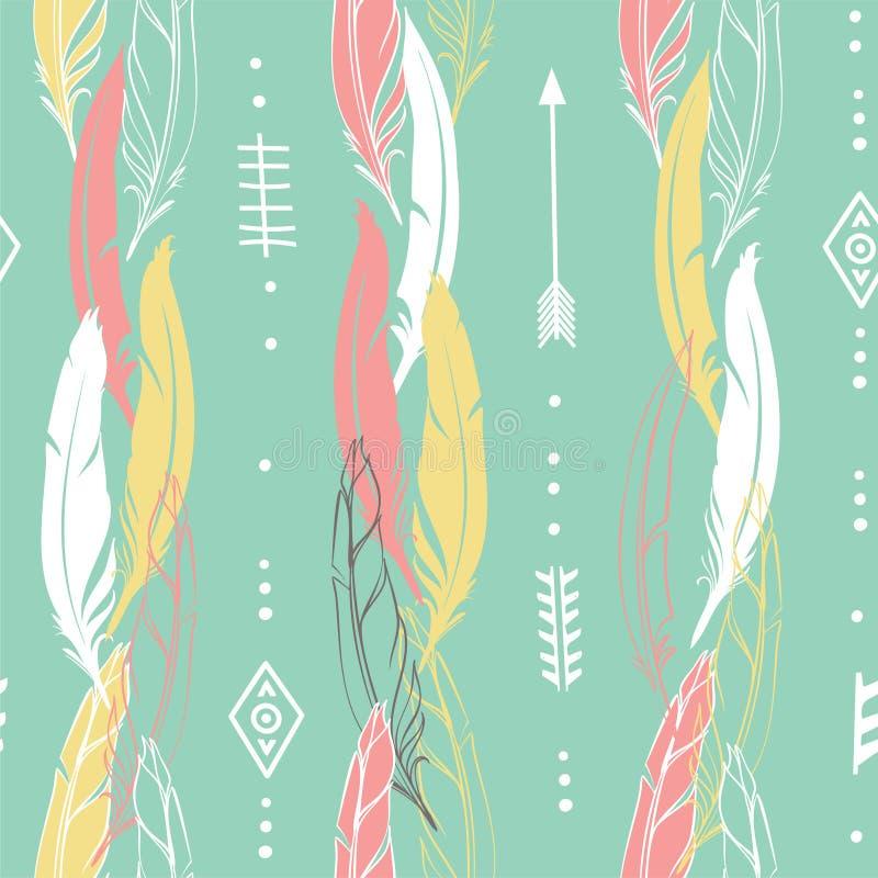 Illustrazione disegnata a mano di vettore Modello senza cuciture con le frecce tribali Perfezioni per le carte da parati, le cart illustrazione di stock